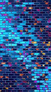 Превью обои сердца, сердце, кирпичный, стена, разноцветный