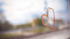 Превью обои сердце, краска, стекло, любовь