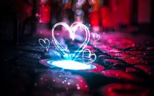 Превью обои сердце, свет, блики