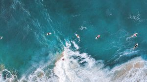 Превью обои серфинг, океан, скалы, вид сверху