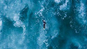 Превью обои серфинг, океан, волны, вид сверху