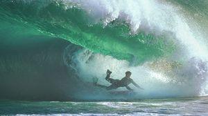 Превью обои серфинг, под водой, волна, парень