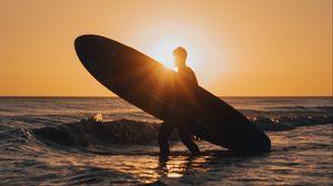 Превью обои серфинг, серфер, силуэт, закат, волны