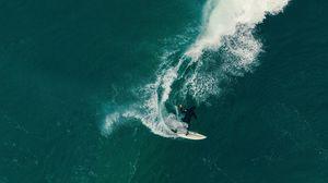 Превью обои серфинг, серфер, волна, море, вид сверху