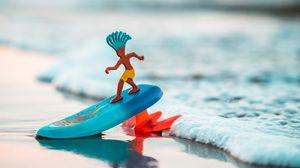 Превью обои серфинг, сервер, игрушка, пляж, море