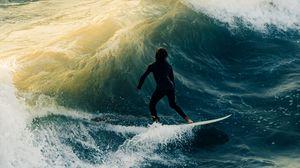 Превью обои серфинг, волны, человек, море