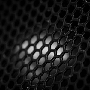Превью обои сетка, шестиугольники, черно-белый, черный