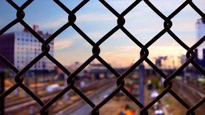 Превью обои сетка, забор, ограждение, размытость