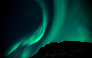 Превью обои северное сияние, ночь, звездное небо, явление