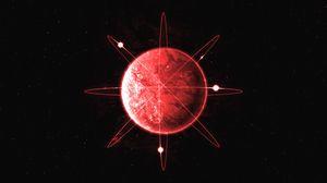 Превью обои сфера, линии, оси, красный, абстракция