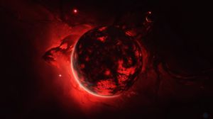 Превью обои сфера, шар, свечение, красный, темный