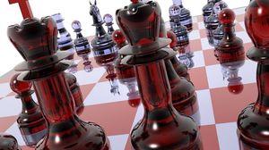 Превью обои шахматы, доска, фигуры, стекло
