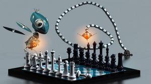 Превью обои шахматы, доска, роботы, животные, партия, игра