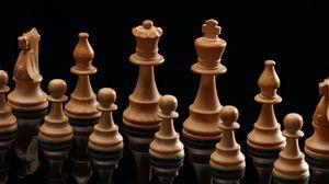 Превью обои шахматы, фигуры, игра, отражение