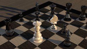 Превью обои шахматы, шахматная доска, фигурки, 3d