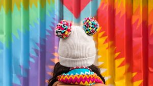 Превью обои шапка, разноцветный, сердце, стена