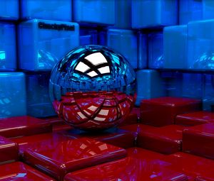 Превью обои шар, кубы, металл, синий, красный, отражение
