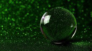 Превью обои шар, зеркальный, зеленый, блестки, боке, отражение