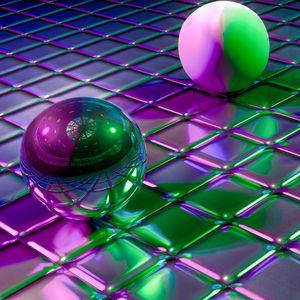 Превью обои шары, кубы, формы, блеск, отражение