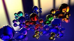 Превью обои шары, молекула, массажер, стекло, отражение, цвет