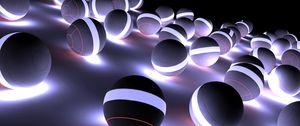 Превью обои шары, неон, свет, яркий, тень