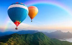 Превью обои шары, полет, небо, природа
