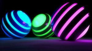 Превью обои шары, полосы, свечение, яркий