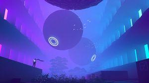 Превью обои шары, сферы, неон, sci-fi, арт
