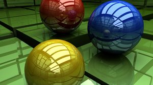 Превью обои шары, три, разноцветный, поверхность, куб