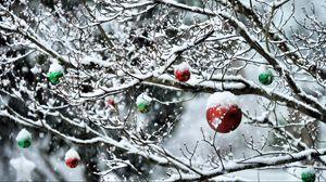 Превью обои шары, ветки, новый год, снег