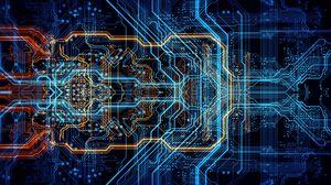 Превью обои схема, чип, процессор, неон