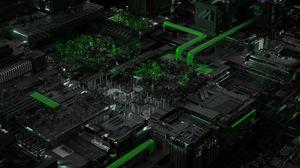 Превью обои схема, процессор, чип, кислотный