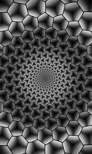 Превью обои шестиугольники, погружение, пространство, чб, монохром