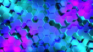 Превью обои шестиугольники, рендеринг, свет, форма
