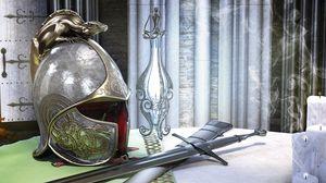 Превью обои шлем, меч, фон