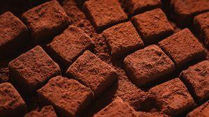 Превью обои шоколад, кубики, десерт, порошок, макро