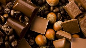 Превью обои шоколад, орехи, вкусно
