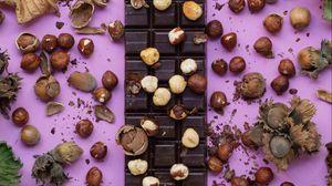 Превью обои шоколад, плитка шоколадка, вкусный, орехи, сладость