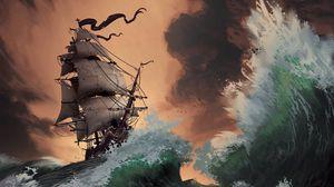 Превью обои шторм, корабль, море, волны, арт