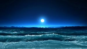Превью обои шторм, волны, море, луна, ночь, искусство
