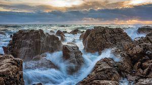 Превью обои шторм, волны, скалы, вода