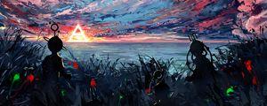 Превью обои силуэт, арт, небо, пятна, разноцветный