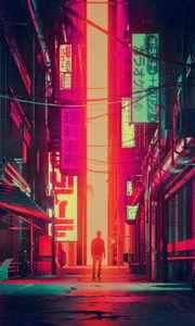Превью обои силуэт, город, улица, арт, футуризм