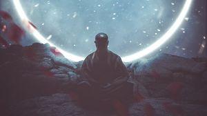 Превью обои будда, медитация, буддизм, круг, свечение