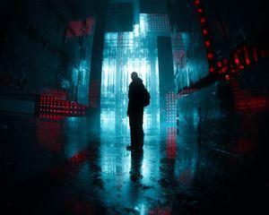 Превью обои силуэт, коридор, свечение, темный