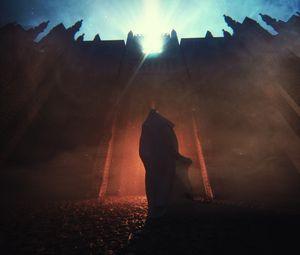 Превью обои силуэт, крепость, ночь, сияние, мантия