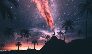 Превью обои силуэт, магия, ночь, сила, звездное небо