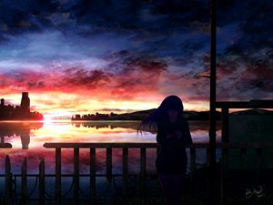 Превью обои силуэт, ночь, звездное небо, девушка, аниме