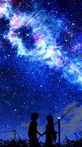 Превью обои силуэт, ночь, звездное небо, арт, темный