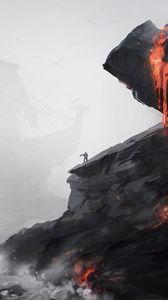Превью обои силуэт, одиночество, скала, вулкан, апокалипсис